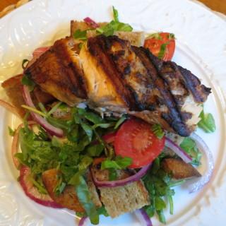 Grilled Salmon Panzanella Salad