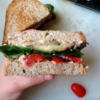 Hummus, Eggplant, Lettuce, and Tomato (H.E.L.T.) Sandwiches