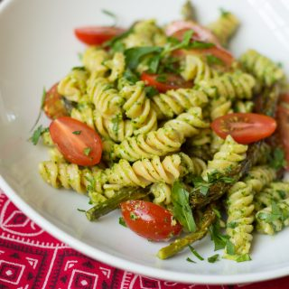 Arugula Pesto Pasta with Veggies