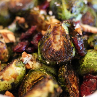 Roasted Brussels Sprouts with Pecans and Dried Cranberries