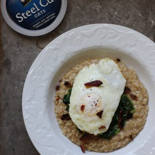 Savory Oatmeal with Spinach and Fried Egg