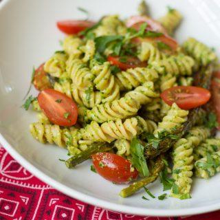 Arugula Pesto Pasta with Veggies