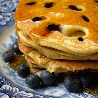 Power Cornmeal Blueberry Pancakes